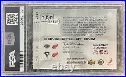 02/03 Upper Deck Top Shelf Milestones Gretzky Lemieux Howe Yzerman Jersey PSA 10