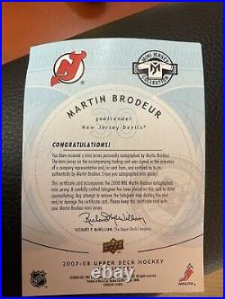 07/08 Martin Brodeur Mini Jersey Auto Devils. RARE! COA Included From UD