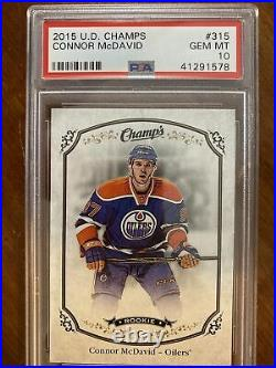 15-16 UD Champs Hockey Rookie 315 Connor McDavid PSA 10
