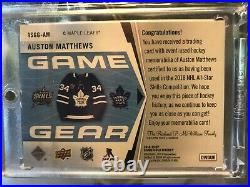 18 19 SP Game Used Auston Matthews Game Gear PATCH/TAG/JERSEY/STRAP #d 6/6