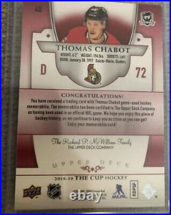 18-19 Upper Deck The Cup Red #40 Thomas Chabot Tag /2 Jersey Tag
