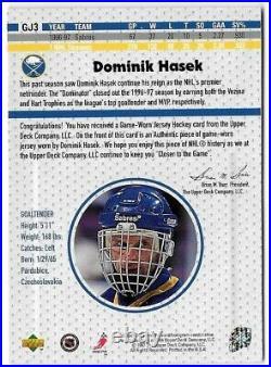 1997-98 Ud Upper Deck Game Worn Jersey Sabres Domink Hasek Sp Gj3! 12500