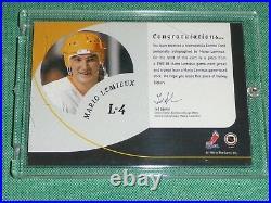 1998-99 BAP MARIO LEMIEUX Playoff Legend Stick / Jersey AUTO Extremely Rare