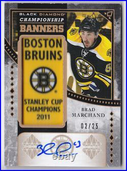 19-20 Black Diamond Brad Marchand /25 Auto Championship Banners Bruins 2019