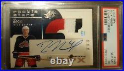 2002 Spx Rick Nash /500 Signed Jersey Rookie Auto 3 Color Psa 10 Mint #149 Rc