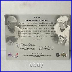 2005-06 SPX Wayne Gretzky Sidney Crosby ROOKIE Dual Jersey Patch 22/350 R3