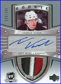 2005-06 The Cup Thomas Vanek Auto Sick Jersey Patch Rookie Card RC 196/199