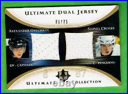 2005-06 ULTIMATE DUAL ROOKIE JERSEYS Alexander Ovechkin Sidney Crosby RC #1/75