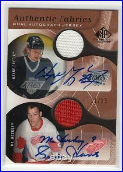 2005-06 Ud Sp Game Used Dual Jersey Autograph Auto /25 Gordie Howe Wayne Gretzky