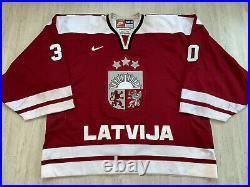 2005 IIHF LATVIA Game Worn Ice Hockey Latvija Jersey Goalie Nike Size 58G #30