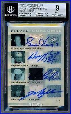 2007-08 Upper Deck Ice Foursomes Autograph Jersey Howe Gretzky Lemieux Messier