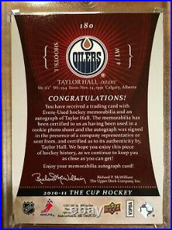 2010-11 The Cup TAYLOR HALL RPA Auto 2clr Jersey Patch Rookie RC 16/99