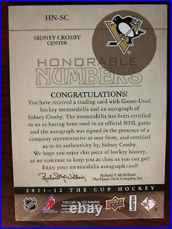 2011-12 Ud Upper Deck The Cup Honorable Numbers Sidney Crosby Auto Patch /87