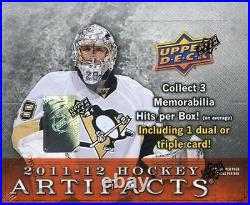 2011-12 Upper Deck Hockey Artifacts Sealed HOBBY Box 3 Hits Dual/Triple Jersey