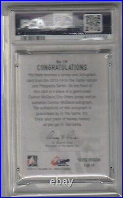 2013 14 ITG Heroes Prospects Jersey Auto #1/19 Connor McDavid PSA 7 POP 1 Oilers