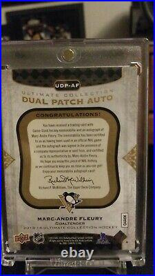 2013/14 Marc Andre Fleury Ud Ultimate Collection Dual Patch Auto # 13/25 Udp-af