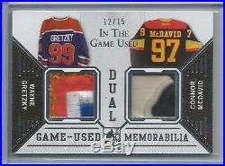 2014-15 ITG Leaf Wayne Gretzky / Connor McDavid Game Used Dual Jersey Sick 12/15
