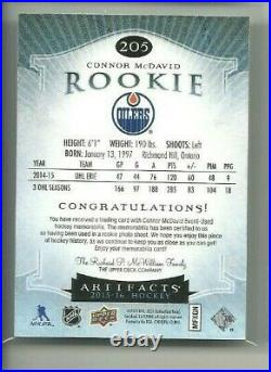 2015-16 Artifacts Jerseys #205 Connor McDavid 287/399 RC Rookie (R5386)