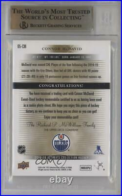 2015 Ultimate Collection Tier 1 Silver Jersey /125 Connor McDavid BGS 9.5 Rookie