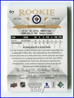 2016-17 UD The Cup Exquisite Rookie Auto Patch 3 Colors 15/29 Patrick Laine #67