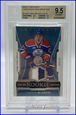 2016-17 Upper Deck Artifacts Connor McDavid Year One Rookie Sweaters BGS 9.5