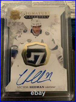 2017-18 UD THE CUP VICTOR HEDMAN SIGNATURE MATERIALS 13/99 AUTO Jersey Patch