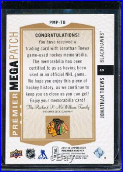 2017-18 Ud Premier Mega Patch Jonathan Toews Chest Logos 10/23 Game Used Jersey