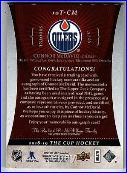 2018-19 The Cup'10-11 Rookie Tribute Connor McDavid 3cl Patch Auto #10/10