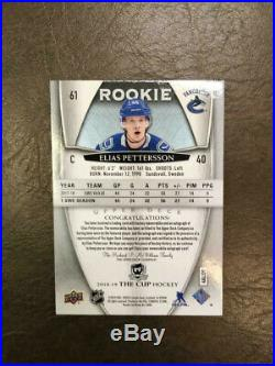 2018 19 The Cup Elias Pettersson rookie jersey autograph hockey card #ed 97/99