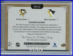2019 20 Chronology Sidney Crosby Mario Lemieux Dual Auto Autograph /25 Penguins