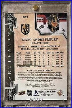 2019-20 UD Artifacts Marc-Andre Fleury dual jersey auto limited 12/15