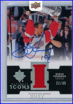 2019-20 ULTIMATE HOCKEY ULTIMATE ICONS Auto/Jersey 32/35 RED WINGS Steve Yzerman