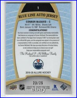 2019-20 Ud Allure #1 Blue Line Game Used Jersey Auto /25 Connor Mcdavid Oilers