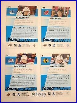2019-20 Upper Deck Young Guns Quinn, Jack Hughes, Kubalik, Makar 4 cards