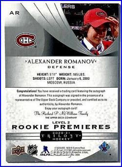 2020-21 ALEXANDER ROMANOV UD TRILOGY PREMIERES ROOKIE LEVEL 2 AUTO /199 Draft