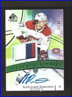 2020-21 Sp Game Used 3-color Patch Auto Alexander Romanov Rc Jersey # 27/35 1/1