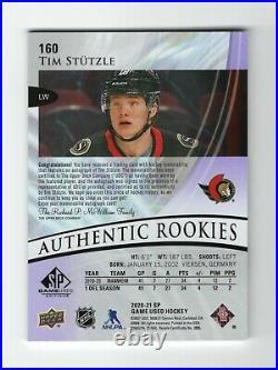 2020-21 UD SP Game Used /65 TIM STUTZLE Purple Autograph Jersey Auto RC Senators