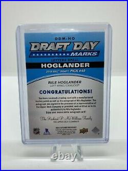 2020-21 UD SP Game Used Nils Hoglander Rookie Draft Day Marks Jersey Relic Auto