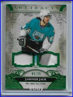 2020/21 Upper Deck Artifacts Jaromir Jagr Dual Jersey Patch #d/25 3 color UD