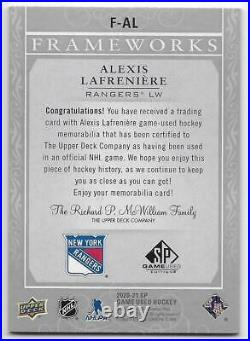 20/21 SP GAME USED FRAMEWORKS GAME USED JERSEY Alexis Lafreniere #FAL