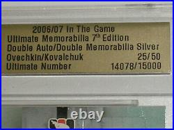 Alex Ovechkin Ilya Kovalchuk Auto Jersey 2006-07 Itg Ultimate Memorabilia 25/50