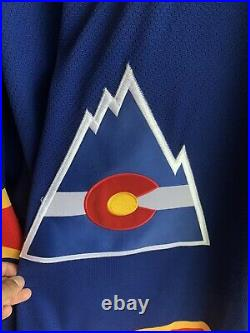 Authentic Center Ice Colorado Rockies Hockey Jersey Fight Strap 48 XL