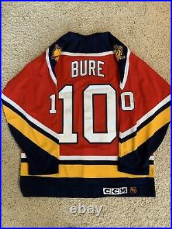 Autograph Authentic Pavel Bure Panthers Hockey Center Ice CCM Fight Strap 48