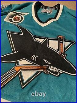 CCM Center Ice San Jose Sharks 75th Vintage NHL Hockey Jersey Size 48 1992 rare