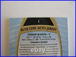 Connor McDavid #1, 2019-20 UD Allure Blue Line Jersey, SP Auto, SP, Rare15/25