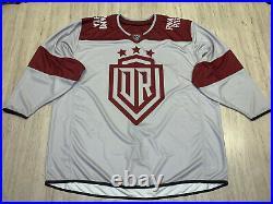Dynamo Riga Dinamo KHL IIHF Goalie Cut Practice Worn Ice Hockey Jersey Shirt XXL