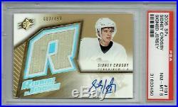 Sidney Crosby 2005 SPx #191 Gold Jersey Auto 83/499 Rookie Card PSA 8