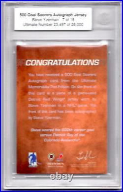 Steve Yzerman 2001/02 Bap Itg Ultimate 500 Goal Scorers Jersey Autograph Bgs /25