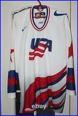 USA United States of America Vintage Ice Hockey Nike White shirt jersey trikot
