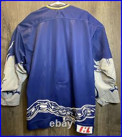 Vtg 1990s IHL Long Beach Los Angeles Ice Dogs Bauer Blue Prowear hockey Men 52